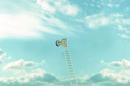 immagination: Ladder and key to open the sky. Conceptual illustration Stock Photo