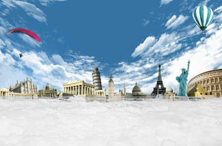 Travel around the world  illustration with monuments and landmarks among the clouds in the sky