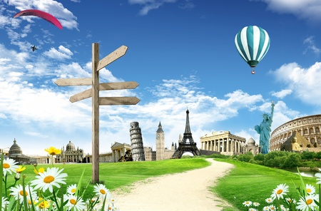 Travel around the world: illustration with monuments and landmarks  Stock Photo