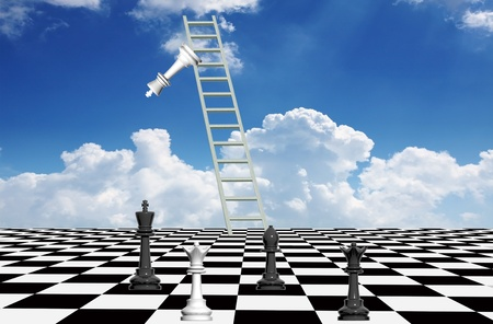 Checkmate on the abstract chessboard with ladder to the sky from where the king is falling down