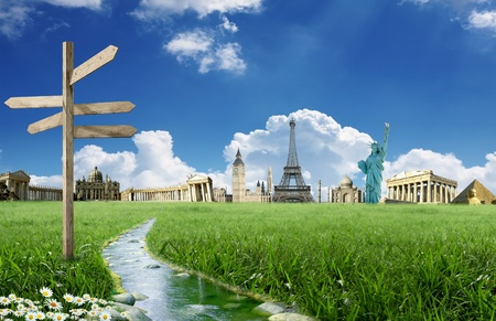 Travel around the world: landmarks with grassland and stream with blue sky with clouds in the background