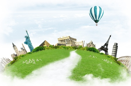 conceptually: Travel around the world: landmarks with grassland and blue sky with clouds in the background