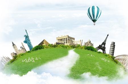Reise um die Welt: Sehensw�rdigkeiten mit Gr�nland in den blauen Himmel mit Wolken i