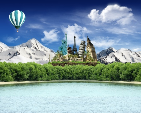 World landmarks among the mountains with snow with woods and lake and hot air balloon flying in the sky photo