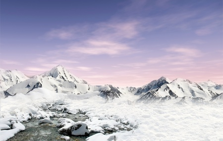 Mountain landscape: snowfield with stream and mountain glaciers in the background photo