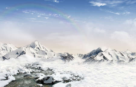mountain stream: Mountain landscape  snowfield with stream and mountain glaciers in the background with rainbow in the sky