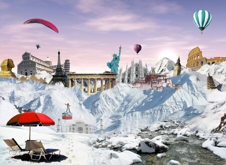 Winter holiday  mountain view with cableway and world landmarks among the snow with hot air balloons and paragliding flying in the sky at the sunrise photo