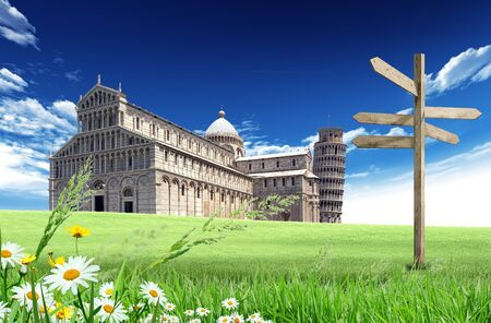 pisa cathedral: Country road with Pisa Cathedral and Tower, Italy, in the background with blue sky and clouds