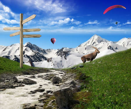 Mountain view: stream and indication panel with mountain and snow in the background and hot air balloon and paragliding flying in the sky Stock Photo - 14175565