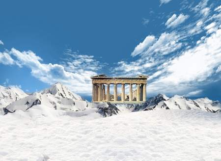 parthenon: Parthenon, greek landmark, among the mountains with snow and blue sky and clouds in the background