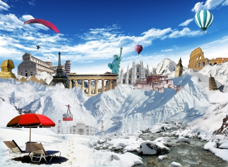 cableway: Winter holiday  mountain view with cableway and world landmarks among the snow with hot air balloons and paragliding flying in the sky