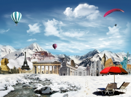 mountain stream: Tourism around the world  world landmarks among the mountain during the winter holiday, with snowfield and stream and hot air balloon and paragliding flying in the sky