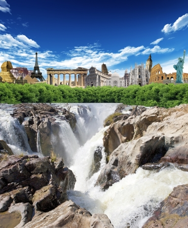 Falls with woods and world landmarks in the background Imagens
