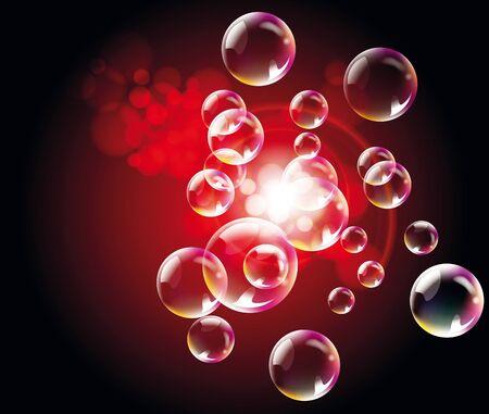 luz focal: Fondo rojo abstracto con burbujas y luz del punto