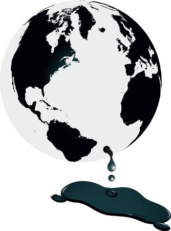 petrochemical: World spilling oil concept illustration