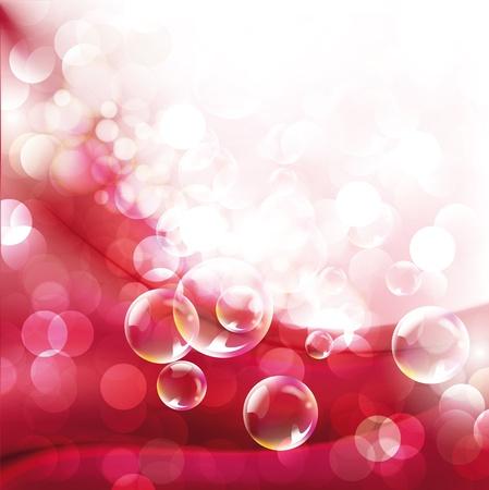 luz focal: Fondo abstracto rojo de la pendiente con punto de luz y burbujas