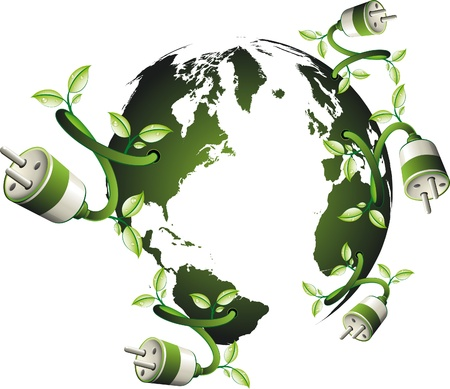 Energy and ecology illustration  green new world