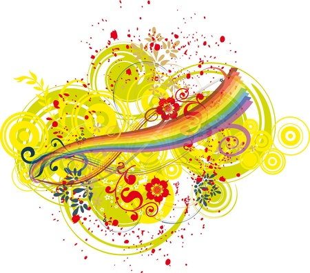 vetor: Rainbow and artistic colored background Illustration