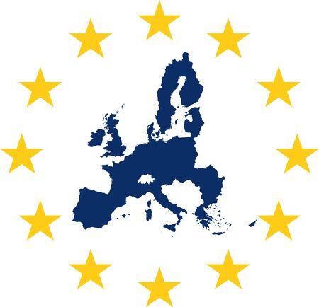 European union symbol and map