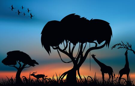 African savanna with animals at the sunset Stock Vector - 14523665