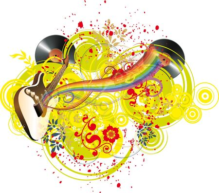 Abstract music background with guitar and rainbow Stock Vector - 14523676