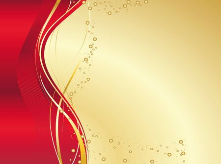 Golden and red gradient background with wave and bubbles