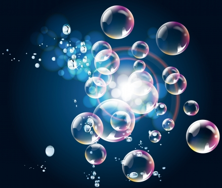 Abstract blue gradient background with bubbles and spotlight Vector