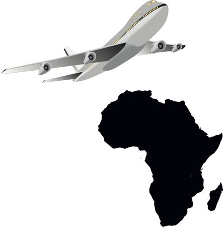 Travel to Africa: flying airplane and african map Vector