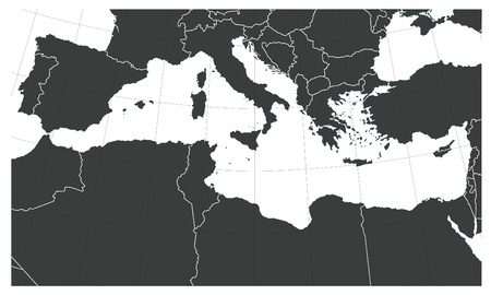 mediterranean countries: Mediterranean sea map with South Europe, Notrh Africa and Middle East