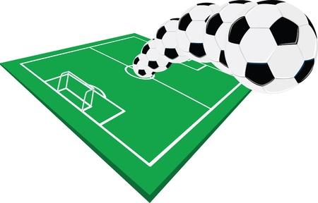 footbal: Football field with kicked football to the sky