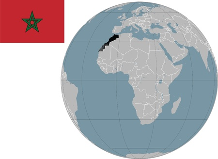 marocco: Marocco map and flag with Africa map