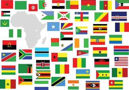 Africa flags and map Imagens - 14649102
