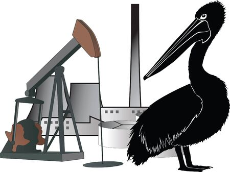 Pollution: animal, oil and industry Stock Vector - 14649090