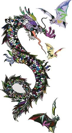 flying dragon: Dragon and bats