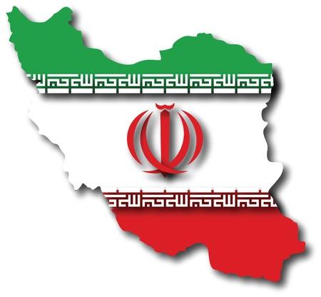 이란의 국기와지도