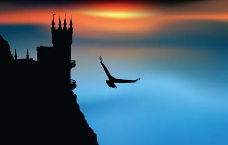 Castle at the sunset with eagle flying in the sky Stock Vector - 14649156