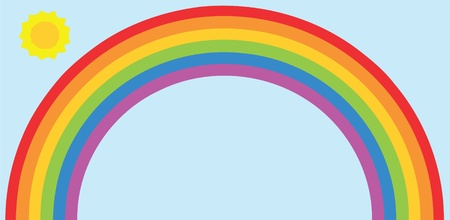 rainbow colours: Rainbow and sun Illustration