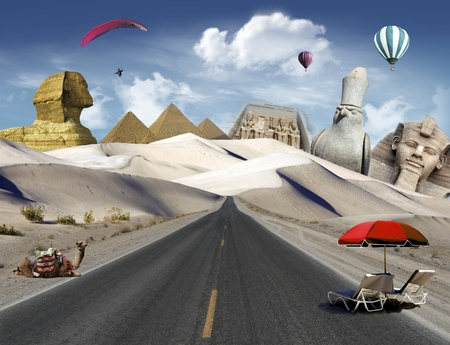 Egyptian landmarks in the desert with road, camel and deck chairs and hot air balloons and paragliding flying in the sky