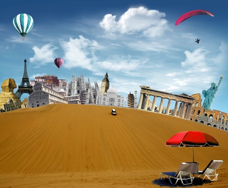 top down car: World landmarks in the desert with car driving down from the top of the dune and hot air balloons and paragliding flying in the sky