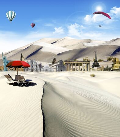 Tourism around the world: world landmarks in the desert with hot air balloons and paragliding flying in the sky