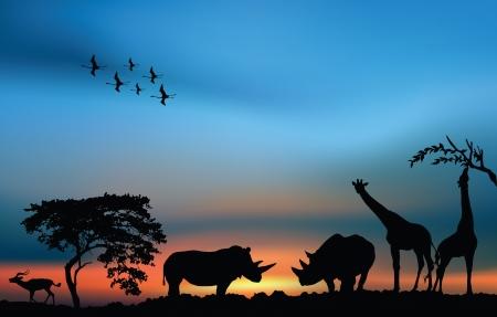 African savanna with acacia and animals at the sunset Ilustração