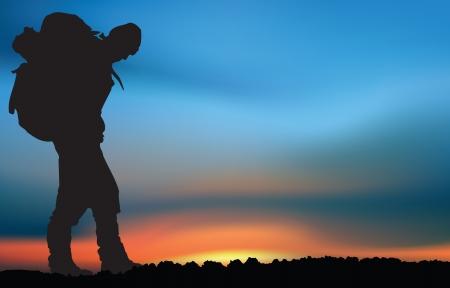 trekker: Extreme explorer at the sunset Illustration