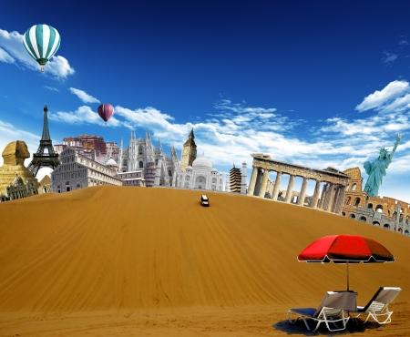 자동차가 하늘에 비행 모래 언덕과 뜨거운 공기 풍선의 상단에서 아래로 운전과 사막에서 세계 랜드 마크