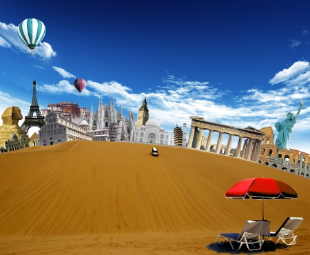 World landmarks in the desert with car driving down from the top of the dune and hot air balloons flying in the sky