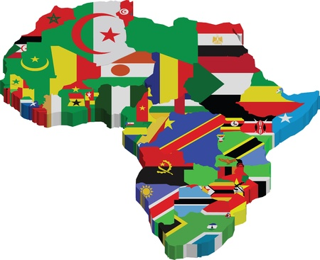 Africa continent and flags