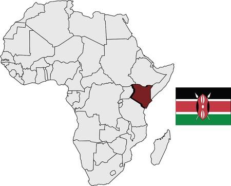 Kenia kaart en de vlag met Afrika continent kaart