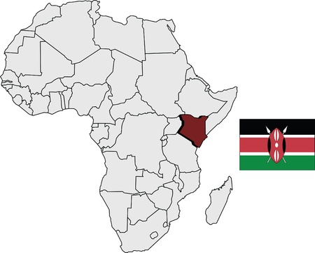 Kenya map and flag with Africa continent map Ilustração