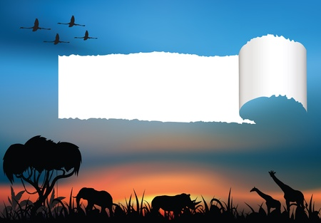 African savanna with animals at dawn Stock Vector - 14880997