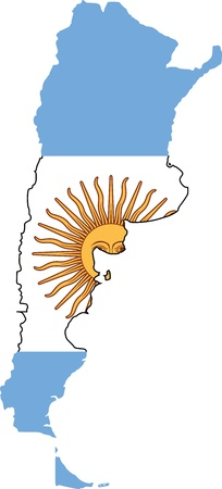 Argentina flag and map Vector