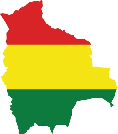 Bolivia flag and map Ilustração
